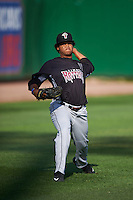 Wisconsin Timber Rattlers pitcher Luis Ortega (37) throws in the outfield before a game against the Peoria Chiefs on August 21, 2015 at Dozer Park in Peoria, Illinois.  Wisconsin defeated Peoria 2-1.  (Mike Janes/Four Seam Images)