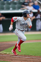 Scott Kingery (18) of the Lakewood BlueClaws hustles down the first base line against the Kannapolis Intimidators at Intimidators Stadium on July 14, 2015 in Kannapolis, North Carolina.  The Intimidators defeated the BlueClaws 8-2.  (Brian Westerholt/Four Seam Images)