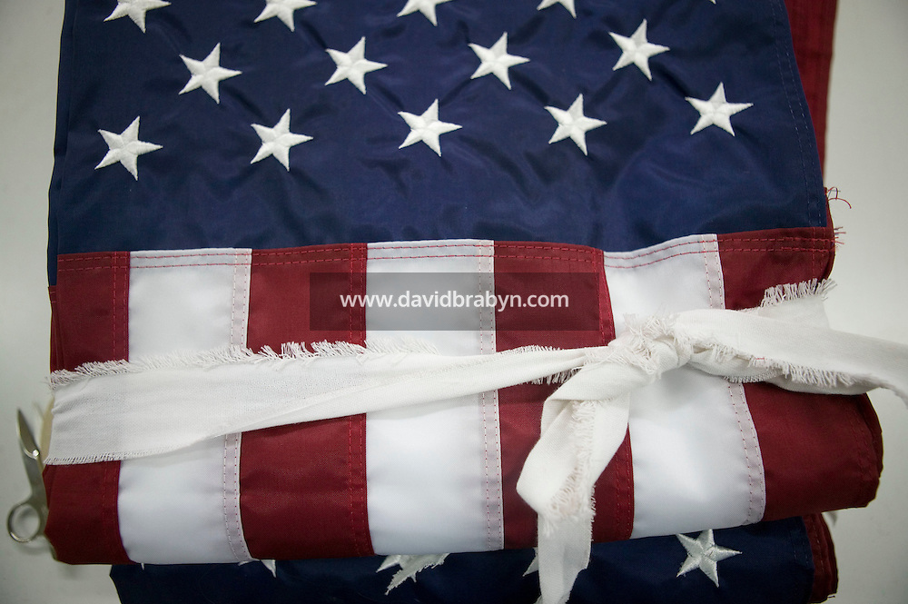 21 June 2005 - Oaks, PA - View of a folded and tied up American flag at the Annin & Co. flag manufacturing plant in Oaks, PA. Photo Credit: David Brabyn
