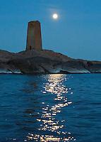 Twilight waters dance with the full moon's reflection at Segelskär Beacon in the Gulf of Finland near Tammisaari / Ekenäs.