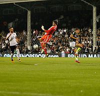 Fulham's Marcus Bettinelli intercepts the danger during the Carabao Cup match between Fulham and Bristol Rovers at Craven Cottage, London, England on 22 August 2017. Photo by Carlton Myrie.