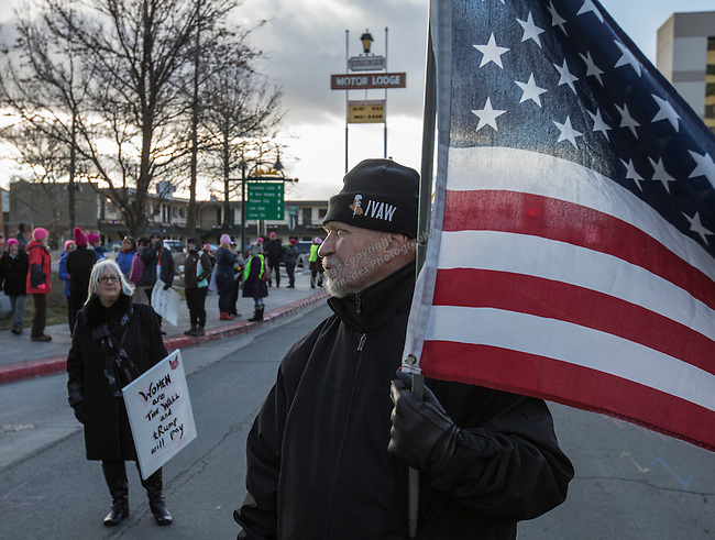 Paul Lenart during the Reno Women's March on Washington event on Virginia Street in downtown Reno on Saturday, Jan. 21, 2017.