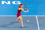 Aleksandra Krunic of Serbia competes against Zheng Saisai of China during the singles first round match at the WTA Prudential Hong Kong Tennis Open 2018 at the Victoria Park Tennis Stadium on 08 October 2018 in Hong Kong, Hong Kong. Photo by Yu Chun Christopher Wong / Power Sport Images
