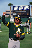 TEMPE, AZ - Manager Tony La Russa of the Oakland Athletics waves to fans after a spring training game against the Seattle Mariners at Tempe Diablo Stadium in Tempe, Arizona in 1991. (Photo by Brad Mangin)