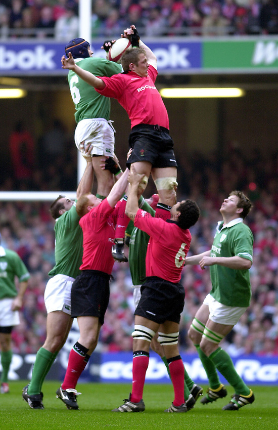 Photo: Greig Cowie.RBS Six Nations Championship. Wales v Ireland 22/03/2003.Dafydd Jones in the lineout.