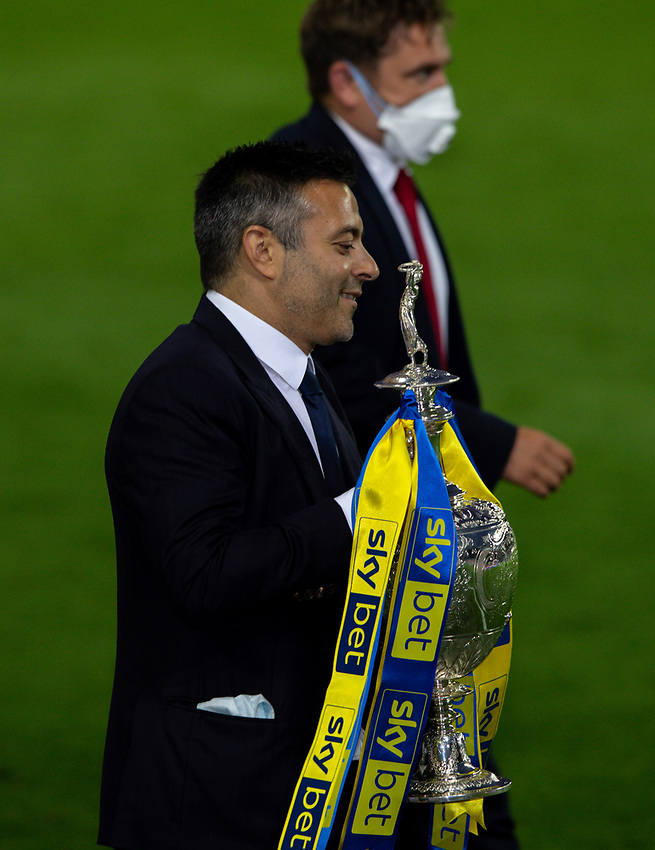 Leeds United owner Andrea Radrizzani carries the trophy to its plinth<br /> <br /> Photographer Alex Dodd/CameraSport<br /> <br /> The EFL Sky Bet Championship - Leeds United v Charlton Athletic - Wednesday July 22nd 2020 - Elland Road - Leeds <br /> <br /> World Copyright © 2020 CameraSport. All rights reserved. 43 Linden Ave. Countesthorpe. Leicester. England. LE8 5PG - Tel: +44 (0) 116 277 4147 - admin@camerasport.com - www.camerasport.com
