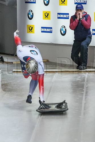 February 24th 2017,  Berchtesgaden - Konigssee, Germany; Action from the Men's Skeleton Runs 1 and 2, Dominic PARSONS GBR