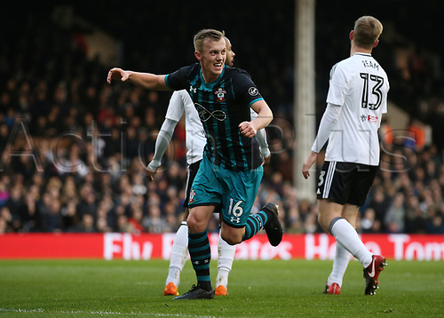 6th January 2018, Craven Cottage, London, England;  FA Cup football, 3rd round, Fulham versus Southampton; James Ward-Prowse of Southampton celebrates scoring his sides 1st goal in the 29th minute to make it 0-1
