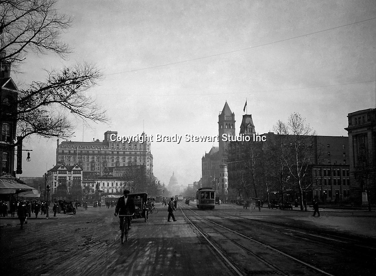 Washington DC:  View down Pennsylvania Avenue toward the US Capital - 1912.  Brady and Sarah Stewart sightseeing in Washington DC while on their honeymoon.