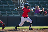 Seby Zavala (21) of the Kannapolis Intimidators follows through on his swing against the Hagerstown Suns at Kannapolis Intimidators Stadium on June 14, 2017 in Kannapolis, North Carolina.  The Intimidators defeated the Suns 4-1 in game one of a double-header.  (Brian Westerholt/Four Seam Images)