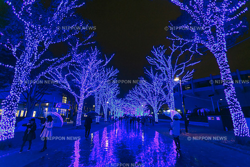 Visitors enjoy the Blue Grotto Shibuya illuminations on November 22, 2017, Tokyo, Japan. Thousands of blue LED lights turn the streets from Yoyogi Park to Koen Dori into a 800-meter cave. The event runs til December 31, 2017. (Photo by Rodrigo Reyes Marin/AFLO)