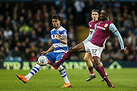 Aston Villa's Albert Adomah vies for possession with Queens Park Rangers'  Darnell Furlong<br /> <br /> Photographer Andrew Kearns/CameraSport<br /> <br /> The EFL Sky Bet Championship -  Aston Villa v Queens Park Rangers - Tuesday 13th March 2018 - Villa Park - Birmingham<br /> <br /> World Copyright &copy; 2018 CameraSport. All rights reserved. 43 Linden Ave. Countesthorpe. Leicester. England. LE8 5PG - Tel: +44 (0) 116 277 4147 - admin@camerasport.com - www.camerasport.com