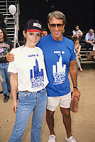 ***FILE PHOTO*** Margot Kidder has passed away at 69****<br /> Margot Kidder with Roy Scheider during the Women In Film softball game on June 1, 1987 in Central Park, New York City. <br /> CAP/MPI/WAL<br /> &copy;WAL/MPI/Capital Pictures