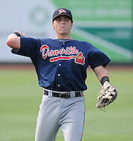 Infielder Brandon Drury (13) of the Danville Braves, Appalachian League affiliate of the Atlanta Braves, prior to a game against the Johnson City Cardinals on August 19, 2011, at Howard Johnson Field in Johnson City, Tennessee. Danville defeated Johnson City, 5-4, in 16 innings. Drury was named to the 2011 Appalachian League Postseason All-Star Team and Co-Player of the Year. (Tom Priddy/Four Seam Images)