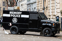A Memory Police prop van on the Doctor Who film set on Mount Stuart Square in Cardiff Bay, Wales, UK. Sunday 05 February 2017