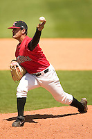 Kannapolis Intimidators relief pitcher Israel Chirino fires a pitch to the plate versus Charleston at Fieldcrest Cannon Stadium in Kannapolis, NC, Monday, May 1, 2006.