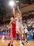 BROOKING, SD - NOVEMBER 13:  Macy Miller #12 from South Dakota State takes the ball to the basket past Claire Oberdorf  #1 form Marist in the second half of their game Friday night at Frost Arena in Brookings. (Photo by Dave Eggen/Inertia)