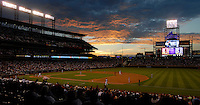 04 August 08: The sun sets over Coors Field in Denver, Colorado during a game between the Washington Nationals and the Colorado Rockies. The Nationals defeated the Rockies 9-4 at Coors Field in Denver, Colorado.