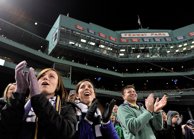 (Boston, MA, 11/21/15) Fans celebrate during the second quarter as Notre Dame hosts Boston College at Fenway Park in Boston on Saturday, November 21, 2015. Photo by Christopher Evans