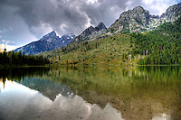 The Tetons are reflected in String Lake at Grand Teton National Park, Wyoming
