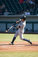 Peoria Javelinas center fielder Ian Miller (9), of the Seattle Mariners organization, swings at a pitch during an Arizona Fall League game against the Mesa Solar Sox at Sloan Park on October 24, 2018 in Mesa, Arizona. Mesa defeated Peoria 4-3. (Zachary Lucy/Four Seam Images)
