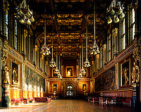 The Royal Gallery provides a grand processional route between the Robing Room and the Chamber. Below the medieval inspired beamed ceiling are two frescos by Daniel Maclise, The Death of Nelson and The Meeting of Wellington and Blucher after Waterloo