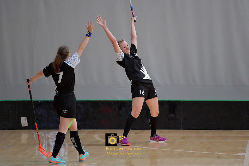 New Zealand's Nicolette Jones in action during the World Floorball Championships 2017 Qualification for Asia Oceania Region - New Zealand v Malaysia at ASB Sports Centre , Wellington, New Zealand on Saturday 4 February 2017.<br /> Photo by Masanori Udagawa<br /> www.photowellington.photoshelter.com.