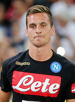 Arkadiusz Milik during the friendly soccer match,between SSC Napoli and Onc Nice      at  the San  Paolo   stadium in Naples  Italy , August 01, 2016<br />  during the friendly soccer match,between SSC Napoli and Onc Nice      at  the San  Paolo   stadium in Naples  Italy , August 02, 2016