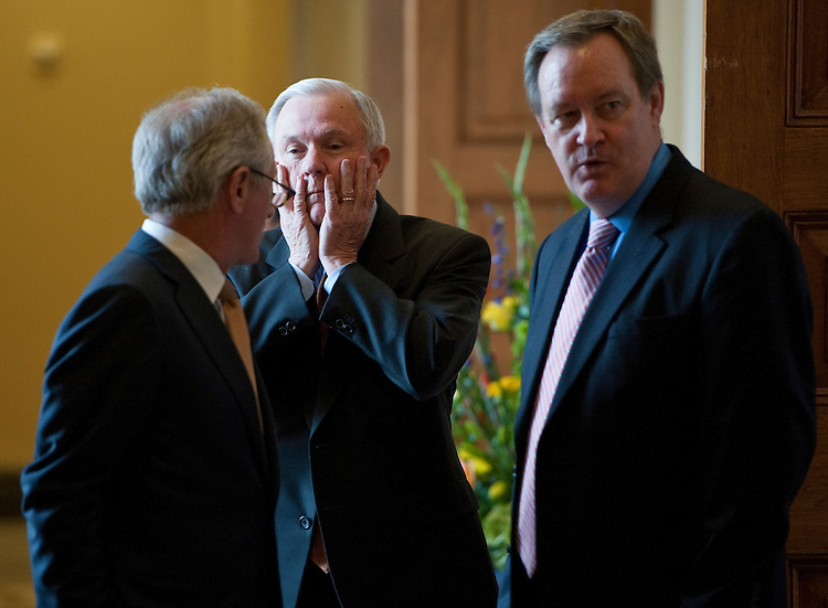UNITED STATES - JUNE 22: From left, Sen. Bob Corker, R-Tenn., Sen. Jeff Sessions, R-Ala., and Sen. Mike Crapo, R-Idaho, talk as a Senate Republican caucus meeting breaks up on Wednesday, June 22, 2011. (Photo By Bill Clark/Roll Call)