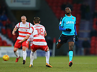 Jordy Hiwula of Fleetwood Town shows frustration after losing the ball to Tom Anderson of Doncaster Rovers during the Sky Bet League 1 match between Doncaster Rovers and Fleetwood Town at the Keepmoat Stadium, Doncaster, England on 17 February 2018. Photo by Leila Coker / PRiME Media Images.