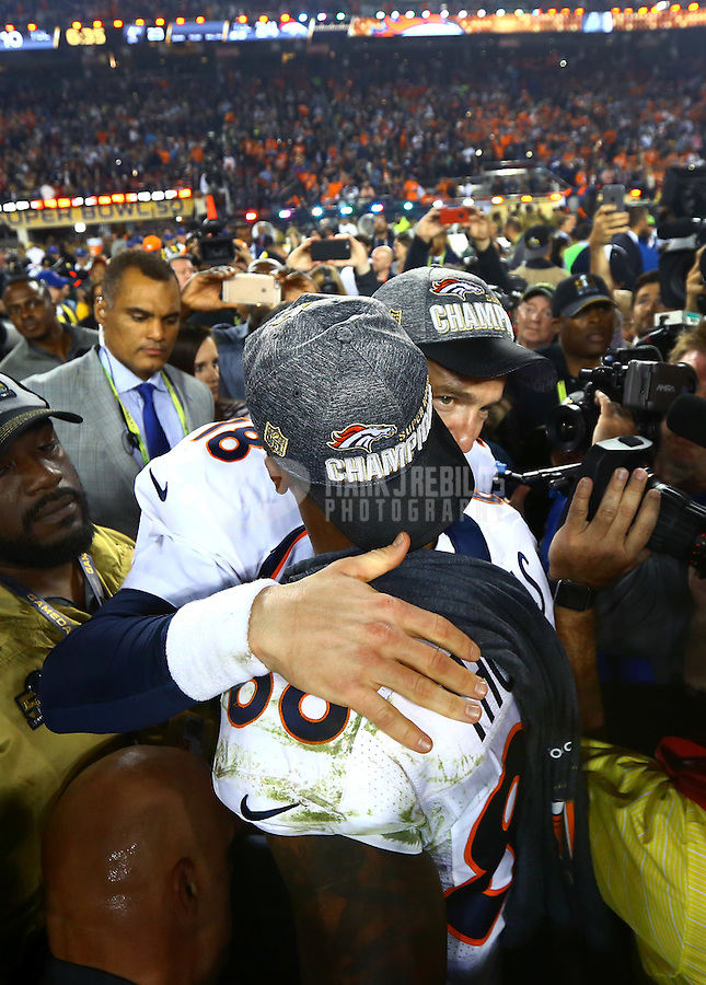 Feb 7, 2016; Santa Clara, CA, USA; Denver Broncos quarterback Peyton Manning (18) celebrates with wide receiver Demaryius Thomas (88) after defeating the Carolina Panthers in Super Bowl 50 at Levi's Stadium. Mandatory Credit: Mark J. Rebilas-USA TODAY Sports