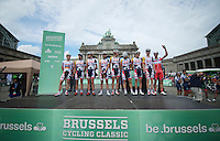 Team Lotto-Belisol team presentation just got photobombed by a Katusha rider<br /> <br /> 1st Brussels Cycling Classic<br /> Brussels - Brussels: 197km