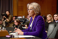 Betsy DeVos of Grand Rapids, Michigan appears before the United States Senate Committee on Health, Education, Labor and Pensions holds a confirmation hearing considering her nomination to be US Secretary of Education on Capitol Hill in Washington, DC on Tuesday, January 17, 2017. Photo Credit: Ron Sachs/CNP/AdMedia