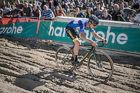 race leader & U23 European CX Champion Quinten Hermans (BEL/U23/Telenet-Fidea) during the descent into 'The Pit'<br /> <br /> U23 race<br /> CX Superprestige Zonhoven 2016