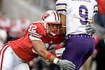 MADISON, WI - SEPTEMBER 9: Defensive lineman Matt Shaughnessy #92 of the Wisconsin Badgers tackles quarterback Steve LaFalce #9 of the Western Illinois Leathernecks on fourth down at Camp Randall Stadium on September 9, 2006 in Madison, Wisconsin. The Badgers beat the Leathernecks 34-10. (Photo by David Stluka)