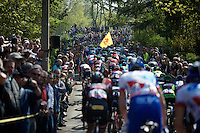 peloton up the crowded,   infamous Mur de Huy (1300m/9.8%)<br /> <br /> 79th Flèche Wallonne 2015