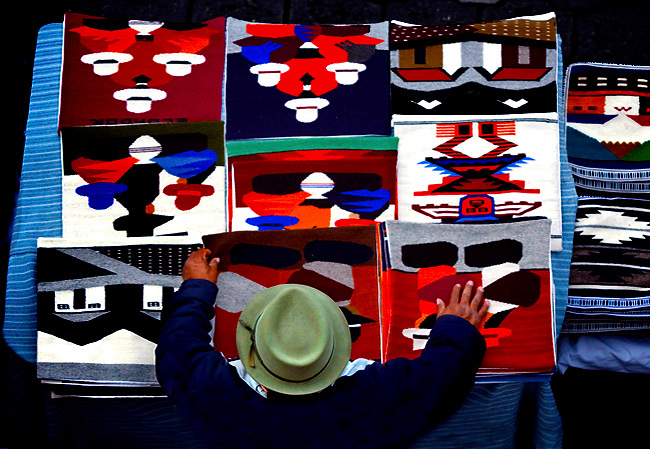Tapestries for sale in Otavalo, Ecuador's most famous Saturday market.