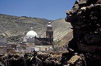 View of 19th-century old silver-mining town of Real de Catorce dominatied by the parish church, San Luis Potosi state, Mexico. Real de Catorce became a virtual ghost town during the early part of the 20th century. It has recently become a popuar destination for travellers.