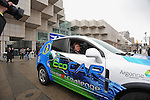 Jill Lajdziak, general manager of General Motors, GM, Saturn division, sits in the passenger seat in the lead car as a caravan of 11 energy and fuel efficient Saturns departed for Washington outside the Cobo Center, site of the Detroit Auto Show, in Detroit, Michigan on January 12, 2009.
