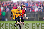 Brian Scanlon of Listowel Emmets races against Tarberts Jimmy Holly in the North Kerry Senior Football Final held last Sunday in Bob Stack Park, Ballybunion.