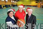 Pictured getting ready for the Castleisland Christmas Basketball Tournament that begins on St. Stephen's Day, from left: Brid Kenny (PRO of St. Mary's Basketball Club), Denis Porter (Chairman St. Mary's Basketball Club) and Donal O'Connor (Tournament Director).