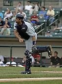 June 17, 2004:  Catcher Sal Fasano of the Columbus Clippers, International League (AAA) affiliate of the New York Yankees, during a game at Frontier Field in Rochester, NY.  Photo by:  Mike Janes/Four Seam Images