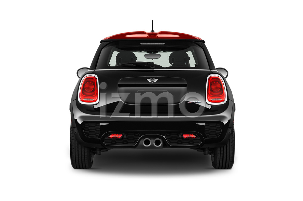 Straight rear view of a 2017 Mini Cooper John Cooper Works 2 Door Convertible stock images