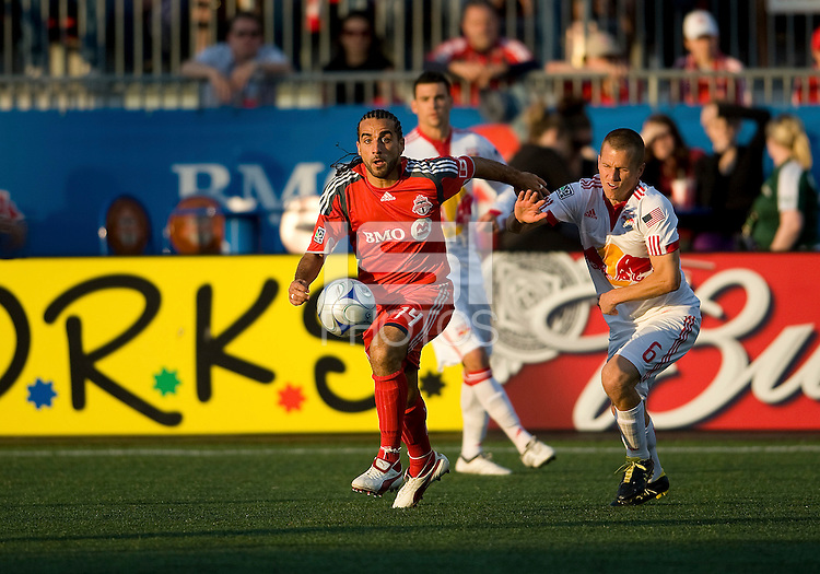 13 June2009: New York Red Bulls midfielder Seth Stammler #6 and Toronto FC midfielder Dewayne DeRosario #14 in action during MLS action at BMO Field in Toronto, in a game between the New York Red Bulls and Toronto FC. Toronto FC won 2-1..