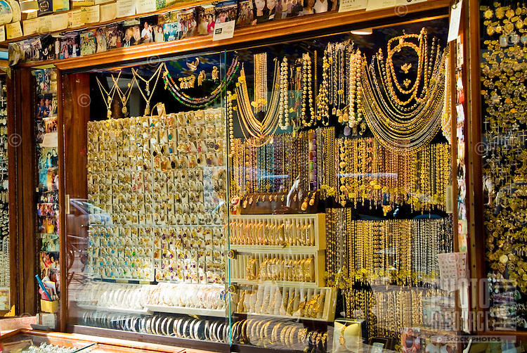 A jewelry stall at the International Market Place in Waikiki.