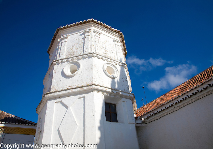 Tower of Moorish church in the Andalusian village of Comares, Malaga province, Spain