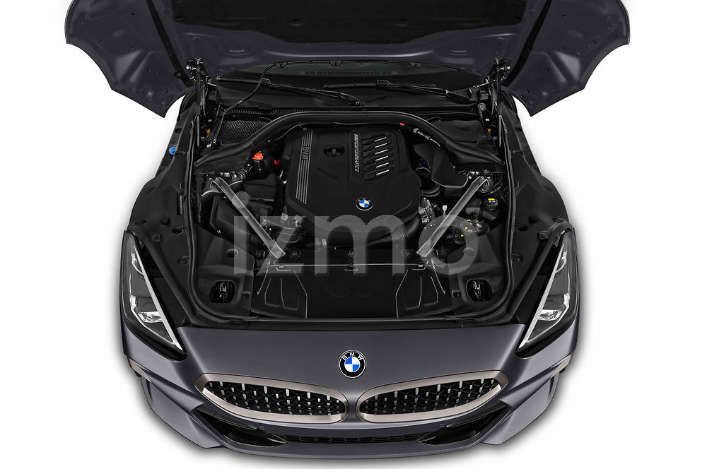 Car Stock 2019 BMW Z4 M-Performance 2 Door Convertible Engine  high angle detail view