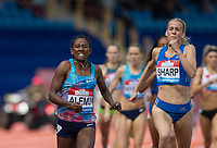Habitam ALEMU of Ethiopia win the 800m in a time of 1.59.60 beating Lynsey SHARP of GBR into second place (1.59.97) during the Muller Grand Prix Birmingham Athletics at Alexandra Stadium, Birmingham, England on 20 August 2017. Photo by Andy Rowland.