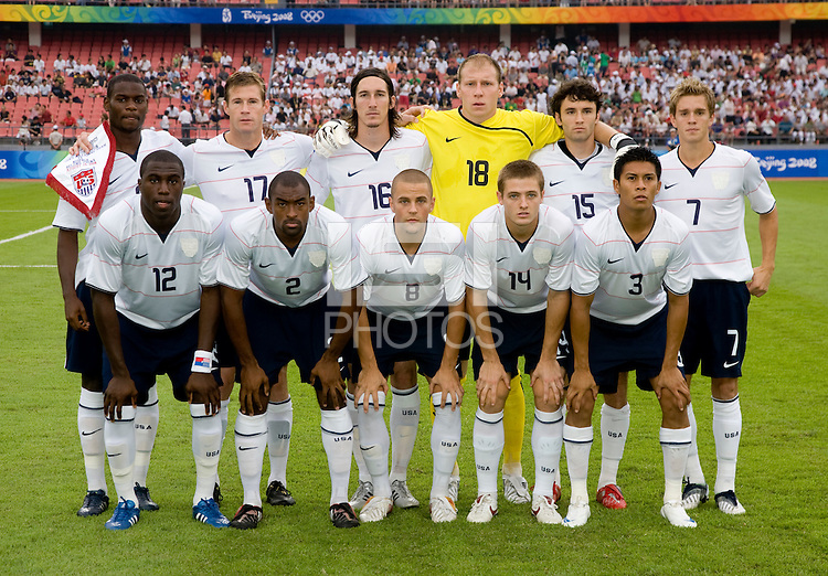The USMNT lines up before playing at Worker's Stadium.  The USMNT was defeated by Nigeria, 2-1, during the 2008 Beijing Olympics in Beijing, China.