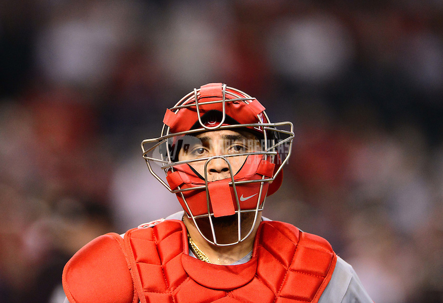 Aug. 29, 2012; Phoenix, AZ, USA: Cincinnati Reds catcher Dioner Navarro against the Arizona Diamondbacks at Chase Field. Mandatory Credit: Mark J. Rebilas-USA TODAY Sports